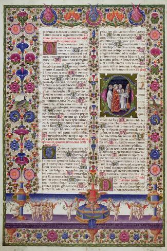 Illuminated Page from the Book of Psalms, from the Borso D'Este Bible. Vol 1 (Vellum)-Italian-Stretched Canvas Print
