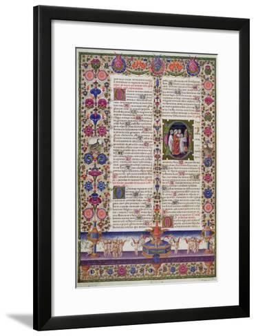 Illuminated Page from the Book of Psalms, from the Borso D'Este Bible. Vol 1 (Vellum)-Italian-Framed Art Print