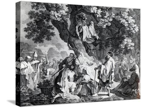 The Druids, or the Conversion of the Britons to Christianity, Engraved by Simon Francois Ravenet-Francis Hayman-Stretched Canvas Print