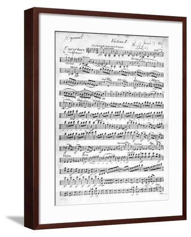 Sheet Music for the Overture to 'Egmont' by Ludwig Van Beethoven, Written Between 1809-10 (Print)-German-Framed Art Print