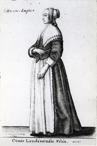 London Citizen's Daughter, 1643 (Etching)-Wenceslaus Hollar-Stretched Canvas Print