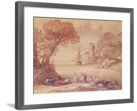 The Rape of Europa, 1655 (Pen, Ink and Wash)-Claude Lorraine-Framed Art Print
