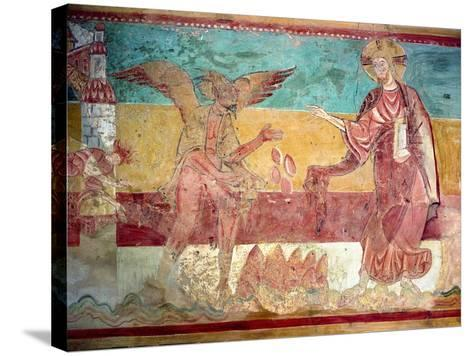 Temptation of Christ in the Desert by the Devil, 12th Century (Fresco)-French-Stretched Canvas Print
