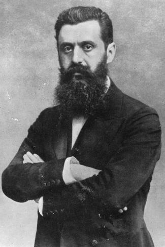 Theodor Herzl, 1903 (B/W Photo)- Austrian Photographer-Stretched Canvas Print