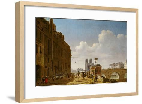 The Emperor Napoleon Visiting the Market for Eau-De-Vie on the Quai Bercy on 8th February 1811-Etienne Bouhot-Framed Art Print