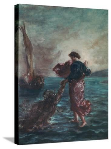 Christ Walking on Water and Reaching Out His Hand to Save Saint Peter-Eugene Delacroix-Stretched Canvas Print