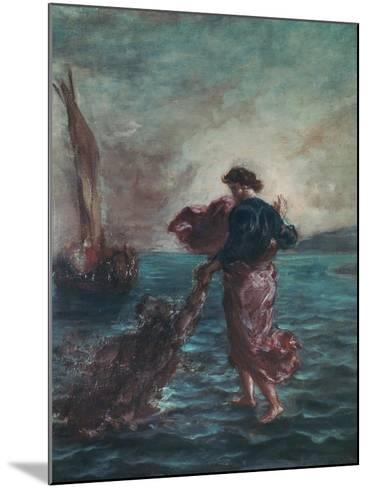 Christ Walking on Water and Reaching Out His Hand to Save Saint Peter-Eugene Delacroix-Mounted Giclee Print