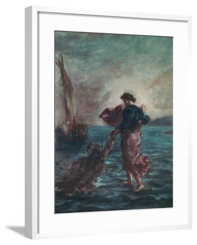Christ Walking on Water and Reaching Out His Hand to Save Saint Peter-Eugene Delacroix-Framed Art Print