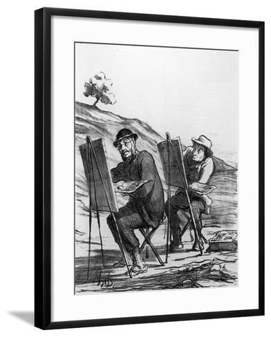 Cartoon Lampooning Landscape Painters, from 'Charivari' Magazine, 12 May, 1865 (Litho)-Honore Daumier-Framed Art Print
