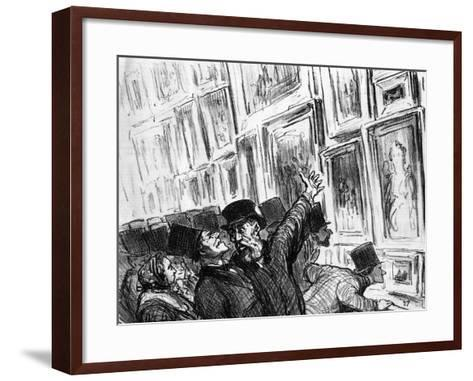 Cartoon of an Artist Being Comforted at the 1859 Paris Salon over the Position of His Work-Honore Daumier-Framed Art Print