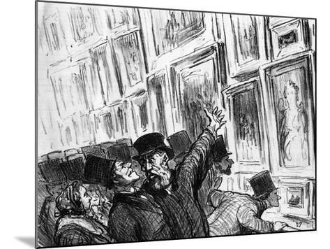 Cartoon of an Artist Being Comforted at the 1859 Paris Salon over the Position of His Work-Honore Daumier-Mounted Giclee Print