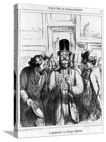 The Promenade of the Influential Critic', Cartoon from 'Charivari' Magazine, 24 June, 1865 (Litho)-Honore Daumier-Stretched Canvas Print