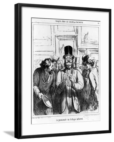 The Promenade of the Influential Critic', Cartoon from 'Charivari' Magazine, 24 June, 1865 (Litho)-Honore Daumier-Framed Art Print
