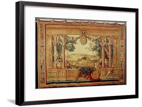 The Month of June/ Chateau of Fontainebleau, from the Series of Tapestries-Charles Le Brun-Framed Art Print