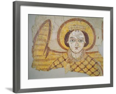 Crowned Archangel with Spread Wings, from the Cathedral of Faras, Sudan (Fresco)- Coptic-Framed Art Print