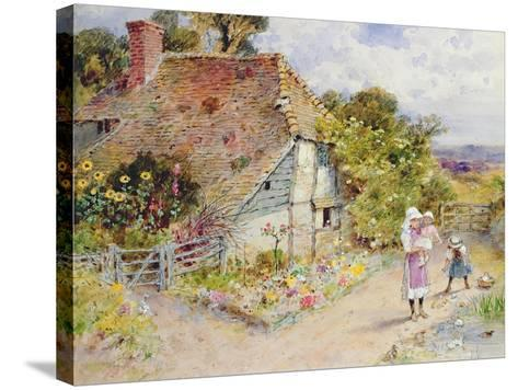 Watching the Ducks (Pencil and W/C on Paper)-William Stephen Coleman-Stretched Canvas Print