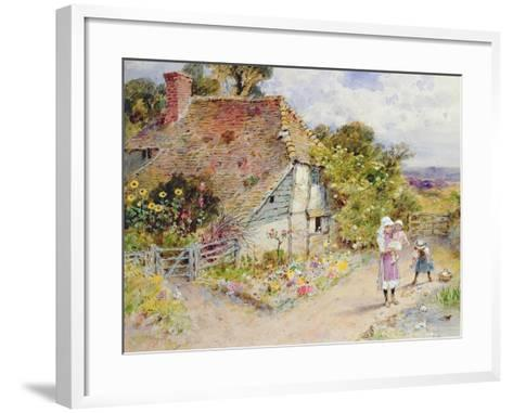 Watching the Ducks (Pencil and W/C on Paper)-William Stephen Coleman-Framed Art Print
