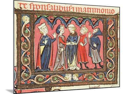 Ms 364 Fol.166 A Marriage, Illustration from Commentaries of Johannes Andreae on Papal Decretals-French-Mounted Giclee Print