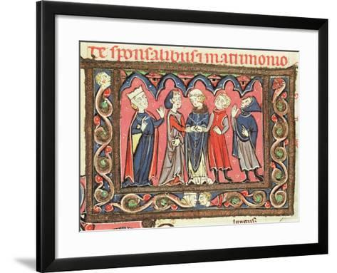 Ms 364 Fol.166 A Marriage, Illustration from Commentaries of Johannes Andreae on Papal Decretals-French-Framed Art Print