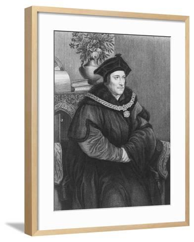 Sir Thomas More (1477-1535) (Engraving)-Hans Holbein the Younger-Framed Art Print