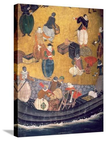 The Arrival of the Portuguese in Japan, Detail of Unloading Merchandise, from a Namban Byobu Screen-Japanese-Stretched Canvas Print