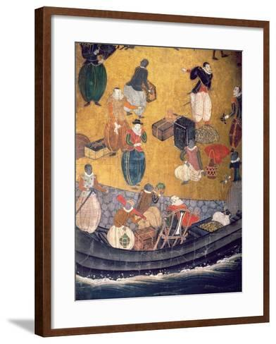 The Arrival of the Portuguese in Japan, Detail of Unloading Merchandise, from a Namban Byobu Screen-Japanese-Framed Art Print