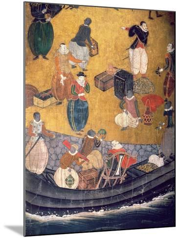 The Arrival of the Portuguese in Japan, Detail of Unloading Merchandise, from a Namban Byobu Screen-Japanese-Mounted Giclee Print