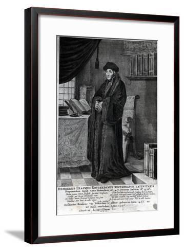 Desiderius Erasmus, 'Restorer of the Latin Language' (Engraving)- Dutch-Framed Art Print