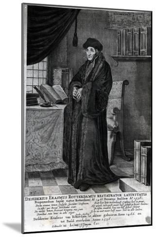 Desiderius Erasmus, 'Restorer of the Latin Language' (Engraving)- Dutch-Mounted Giclee Print