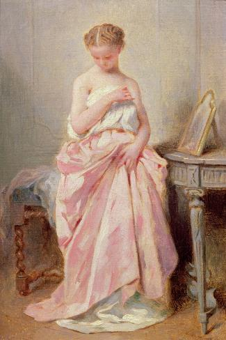 Girl in a Pink Dress-Charles Chaplin-Stretched Canvas Print