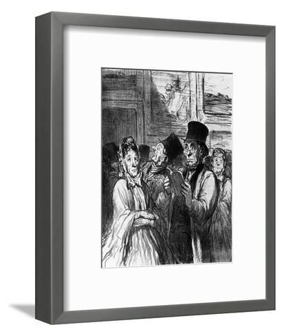 Caricature of Visitors to an Art Exhibition before a Painting by Gustave Moreau-Honore Daumier-Framed Art Print