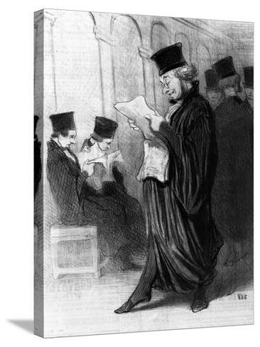 Les Gens De Justice, Cartoon from 'Le Charivari', 26 March, 1846 (Litho)-Honore Daumier-Stretched Canvas Print