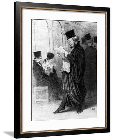 Les Gens De Justice, Cartoon from 'Le Charivari', 26 March, 1846 (Litho)-Honore Daumier-Framed Art Print