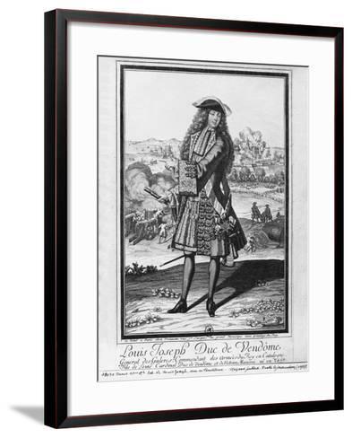 Louis Joseph De Bourbon, Duke of Vendome, known as 'The Great Vendome' (Engraving) (B/W Photo)-French-Framed Art Print