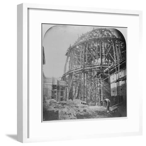 Construction of the British Museum Reading Room, 1854-57 (B/W Photo)-English Photographer-Framed Art Print