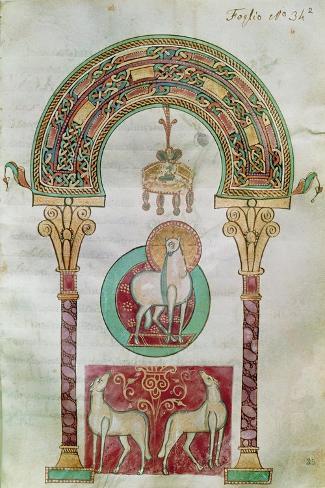 Ms Ccii Fol.35R Agnus Dei, Illustration of the 'Lamb of God' from 'Etymologiae'- Carolingian-Stretched Canvas Print
