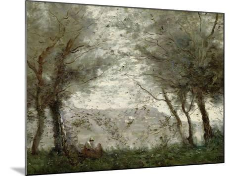 The Pond at Ville-D'Avray Through the Trees, 1871-Jean-Baptiste-Camille Corot-Mounted Giclee Print