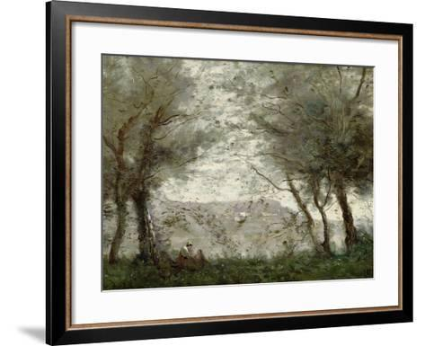 The Pond at Ville-D'Avray Through the Trees, 1871-Jean-Baptiste-Camille Corot-Framed Art Print