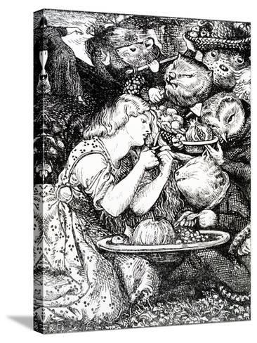 Frontispece to 'Goblin Market and Other Poems' by Christina Rossetti, Engraved by William Morris-Dante Gabriel Rossetti-Stretched Canvas Print