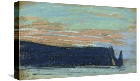 The Cliff at Etretat, C.1885 (Pastel)-Claude Monet-Stretched Canvas Print