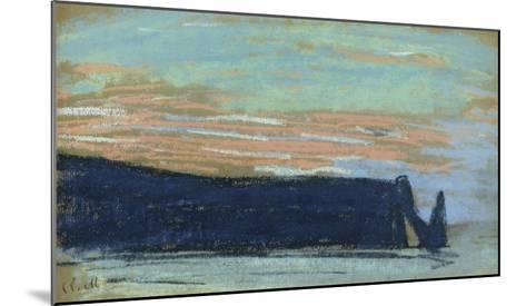 The Cliff at Etretat, C.1885 (Pastel)-Claude Monet-Mounted Giclee Print