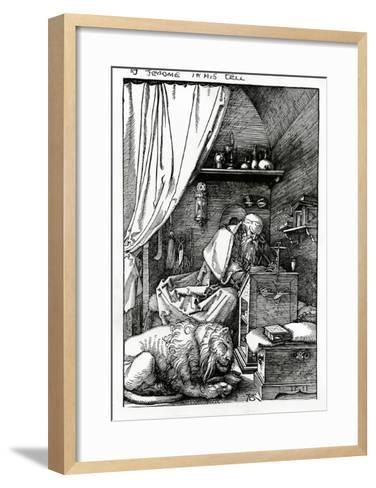 St. Jerome in His Cell, 1511 (Woodcut)-Albrecht D?rer-Framed Art Print