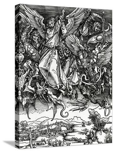 St. Michael Fighting the Dragon, 1498 (Woodcut)-Albrecht D?rer-Stretched Canvas Print