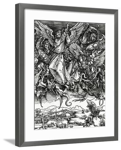 St. Michael Fighting the Dragon, 1498 (Woodcut)-Albrecht D?rer-Framed Art Print