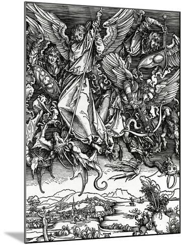 St. Michael Fighting the Dragon, 1498 (Woodcut)-Albrecht D?rer-Mounted Giclee Print