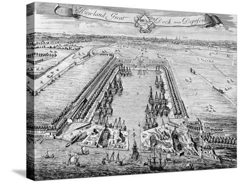 Howland Great Dock, Near Deptford, C.1715-20 (Engraving)-J. Badslade-Stretched Canvas Print