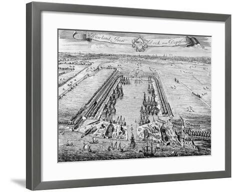 Howland Great Dock, Near Deptford, C.1715-20 (Engraving)-J. Badslade-Framed Art Print