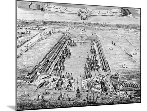 Howland Great Dock, Near Deptford, C.1715-20 (Engraving)-J. Badslade-Mounted Giclee Print