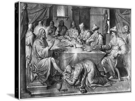 Life of Christ, the Meal at the House of Simon the Pharisee-Henri Lerambert-Stretched Canvas Print