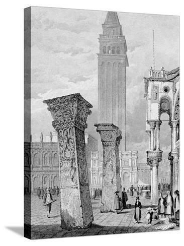 St. Mark's Square, Venice, Engraved by Edward John Roberts (Engraving)-Samuel Prout-Stretched Canvas Print